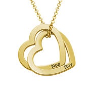 Interlocking Hearts Necklace  with 18K Gold Plating