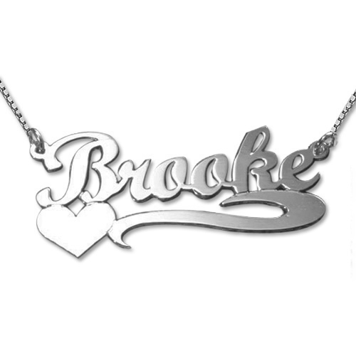 Silver Heart Name Necklace