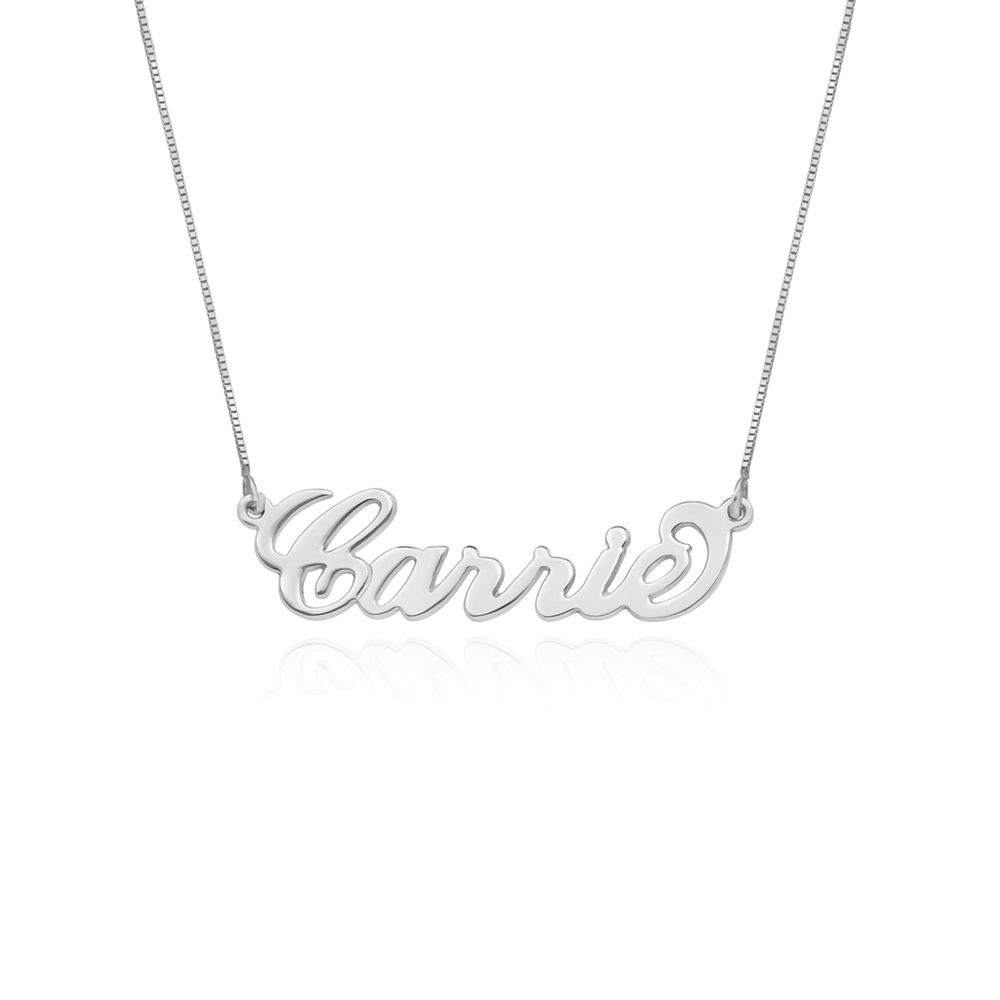 "14k White Gold ""Carrie"" Style Name Necklace"