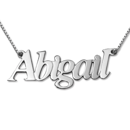 Angel Style Silver Name Necklace