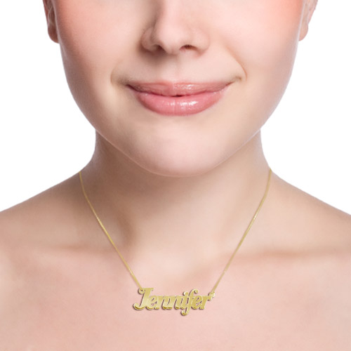 Personalized Double Thickness 14k Gold Name Necklace - 1