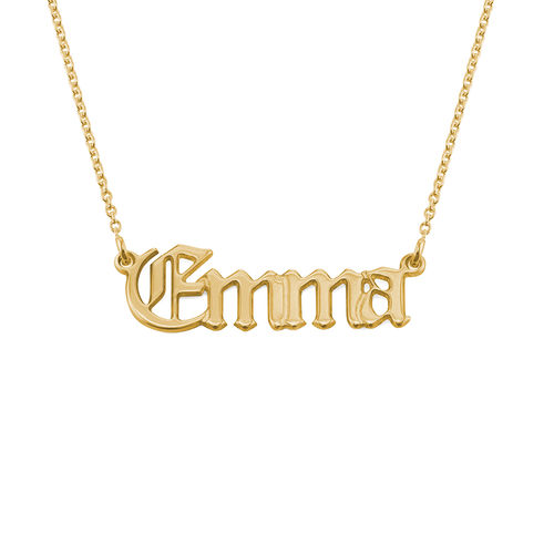 18k Gold-Plated Silver Old English Style Gothic Name Necklace - 1