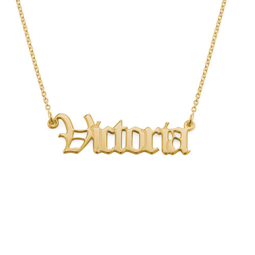 18k Gold-Plated Silver Old English Style Gothic Name Necklace - 2