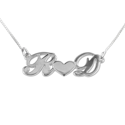 Personalized Silver Couples Heart Name Jewelry