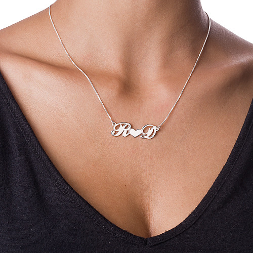 Personalized Silver Couples Heart Name Jewelry - 1
