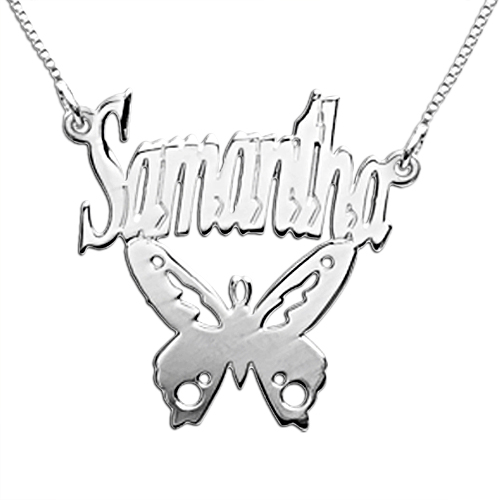 Personalized Sterling Silver  Butterfly Name Necklace