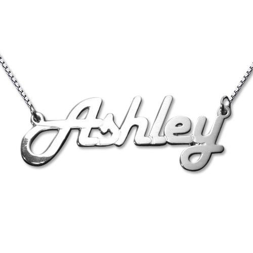 Stylish 14k White Gold Name Necklace