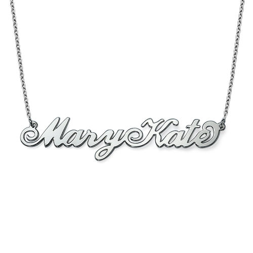 "Two Capital Letters Sterling Silver ""Carrie"" Style Name Necklace"