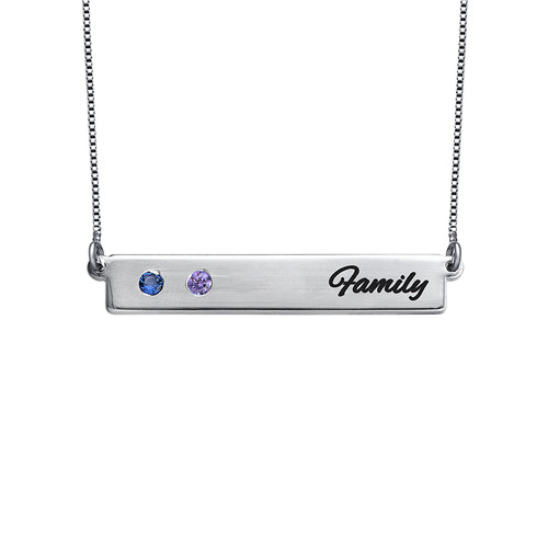 Birthstone Bar Necklace for Mothers - 1