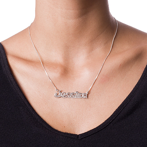Comic Style Silver Name Necklace - 1