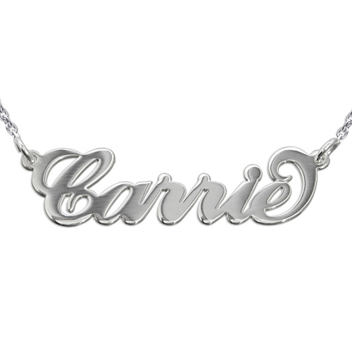 "Sterling Silver ""Carrie"" Style Name Necklacewith Rollo Chain"