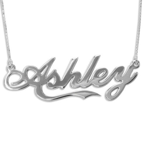 "Double Thickness Silver ""Coca Cola"" Font Name Necklace With Rollo Chain"