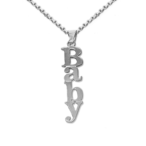 Vertical Design Double Thickness Silver Name Necklace With Rollo Chain