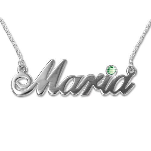 14k white Gold and Swarovski Crystal Name Necklace