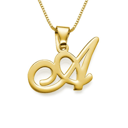 14K Solid Gold Initials Pendant with Your Choice of Letter