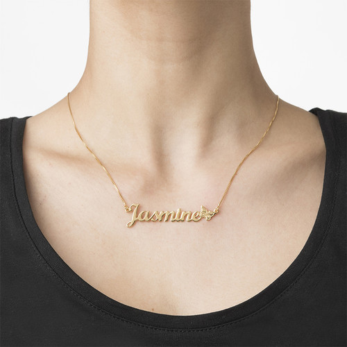 Gold Plated Butterfly Name Necklace - 1