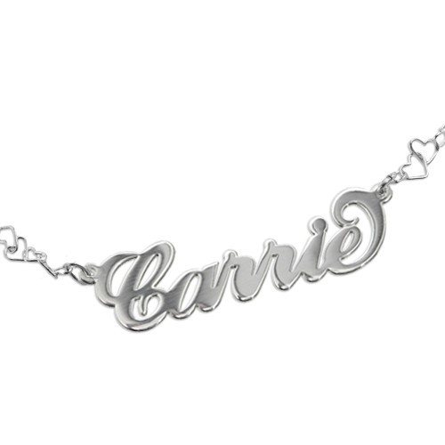 Carrie Style Name Bracelet / Anklet With a Heart Chain - 1