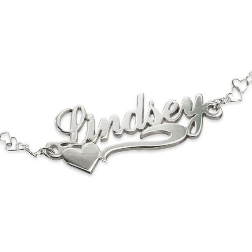 Side Heart Silver Name Bracelet / Anklet - 1