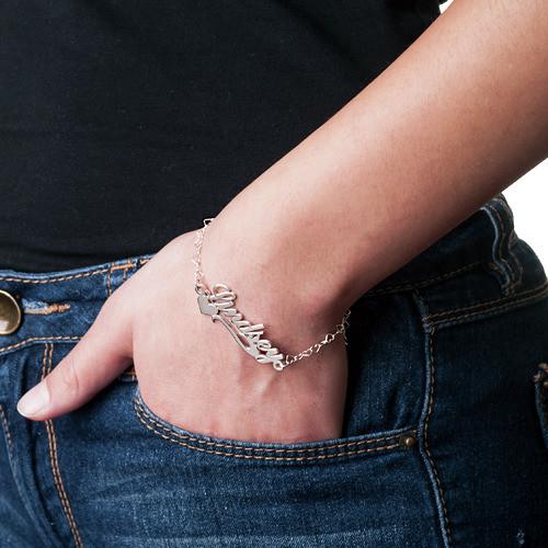 Side Heart Silver Name Bracelet / Anklet - 2