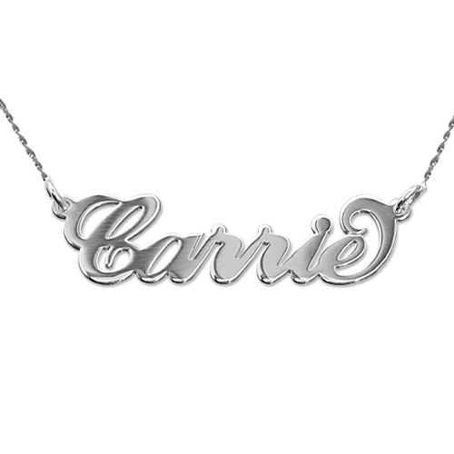 "Double Thickness 14k White Gold ""Carrie"" Style Name Necklace With Twist Chain"