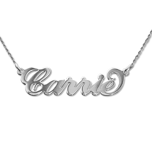 """Small 14k White Gold """"Carrie"""" Style Name Necklace With Twist Chain"""