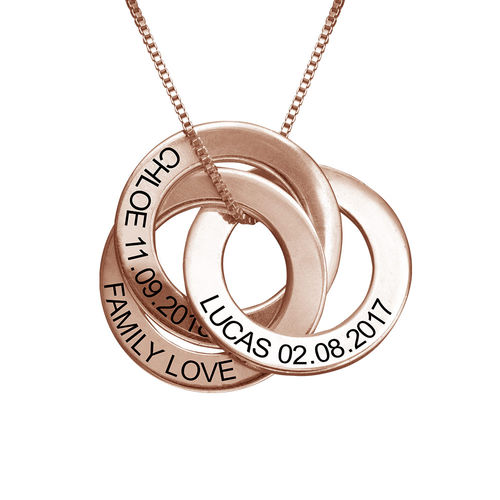 Russian Ring Necklace with Engraving - Rose Gold Plated - 1