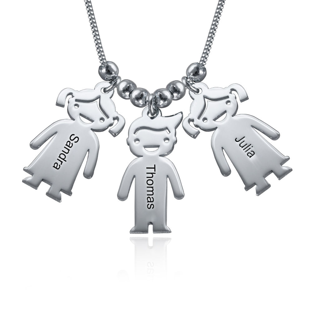3a142c7bf Sterling Silver Mother's Necklace with Engraved Children Charms   My ...