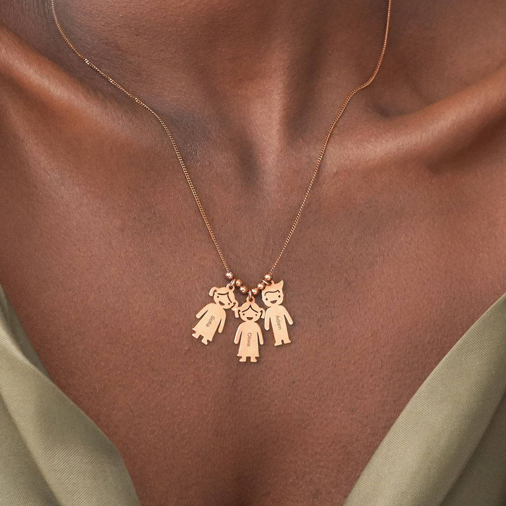 Mother's Necklace with Engraved Children Charms - Rose Gold Plated - 3