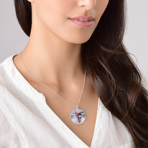 Round Pendant with Photo necklace in Sterling Silver - 3