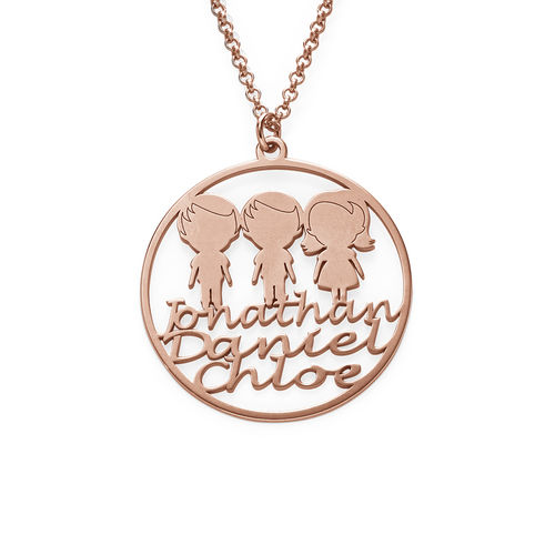 Mother Circle Necklace in Rose Gold Plating