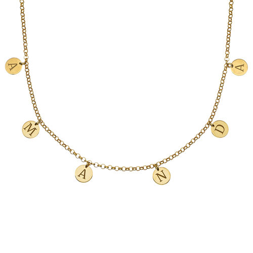 Initials Choker Necklace in Gold Plating