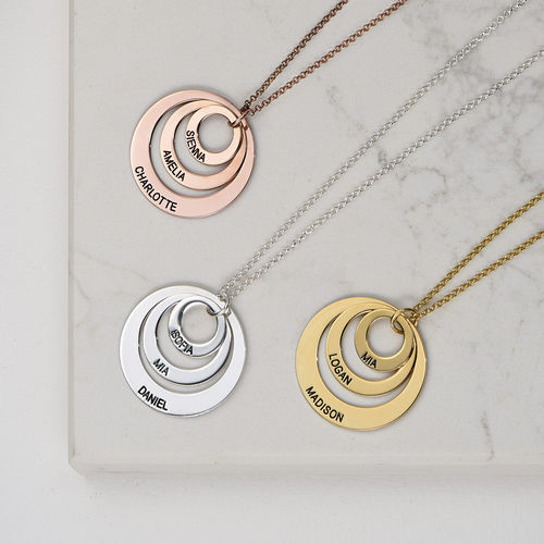 Jewelry for Moms - Three Disc Necklace with Rose Gold Plating - 3