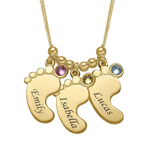 Mom Jewelry - Baby Feet Necklace with Gold Plating