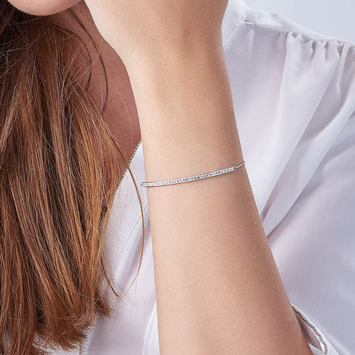Adjustable Bar Bracelet with Cubic Zirconia - 3