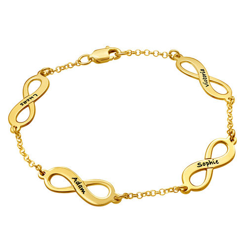 Multiple Infinity Bracelet in Silver with Gold Plating - 2