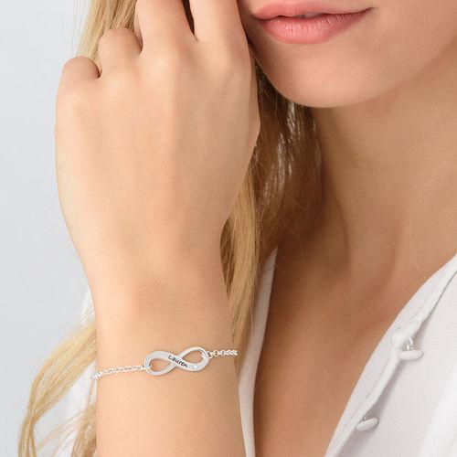 Infinity Sterling Silver Diamond Bracelet - 2