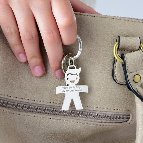 Engraved Boy Keychain in Sterling Silver - 1