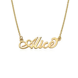 Small 18k Gold-Plated Sterling Silver Carrie-Style Name Necklace product photo