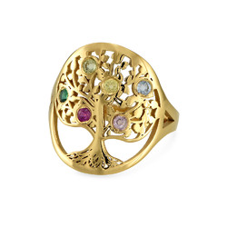 Family Tree Jewelry - Birthstone Ring with Gold Plating product photo