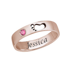 Baby Feet Ring with Inner Engraving in Rose Gold Plated product photo