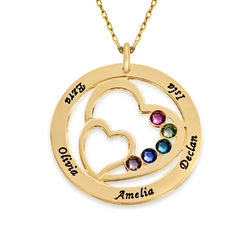 Heart in Heart Birthstone Necklace - 10K Yellow Gold product photo