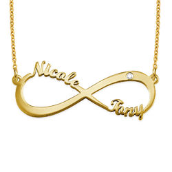 Infinity Name Necklace Gold Plated with Diamond product photo