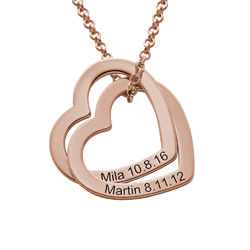 Interlocking Hearts Necklace with 18K Rose Gold Plating product photo