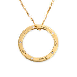 Personalized Ring Family Necklace with Diamonds in Gold Plating product photo