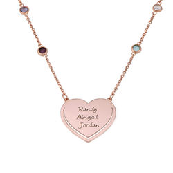 Engraved Heart Necklace with Multi-colored Stones chain in Rose Gold Plating product photo