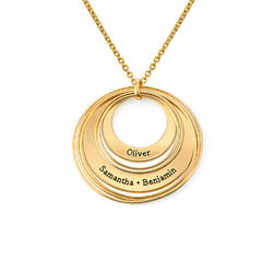 Engraved Two Ring Necklace in 18K Gold Plating product photo