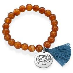 Yoga Jewelry - Engraved Elephant Bead Bracelet product photo