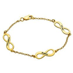 Multiple Infinity Bracelet in Silver with Gold Plating product photo