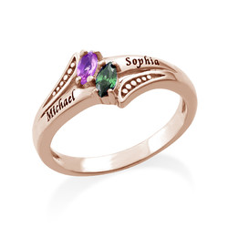 Personalized Birthstone Ring in Rose Gold Plating product photo