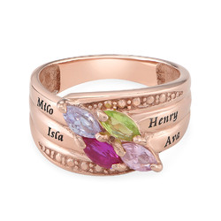 4 Stone Mother Ring - Rose Gold Plated product photo